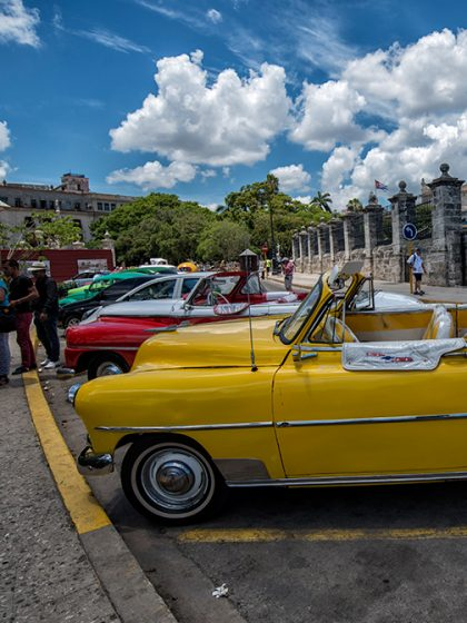 Classic American cars, Havana, Cuba, 1957 Dodge Coronet, 1958 Chevrolet Impala convertible, white-walled tires,