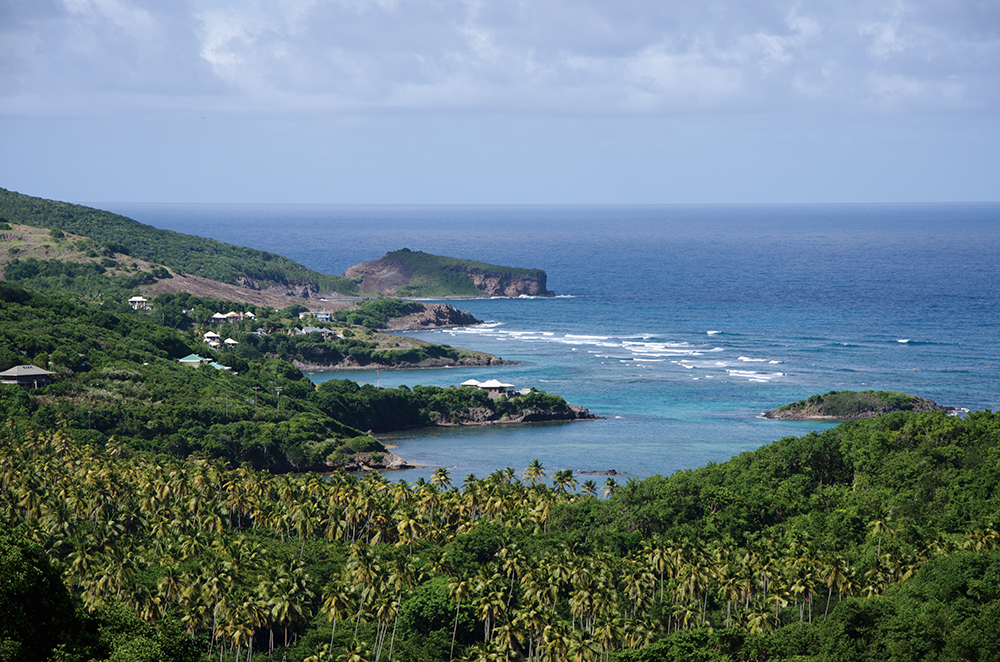 Bequia island, view of three bays in Bequia, St. Vincent and The Grenadines, SVG